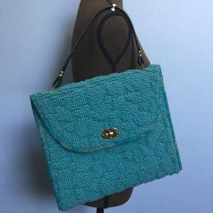 Vintage Mid-Century Carpet Flap Shoulder Bag